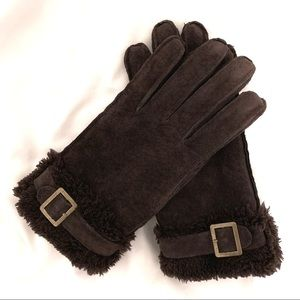ISOTONER Sherpa Lined Suede Leather Gloves